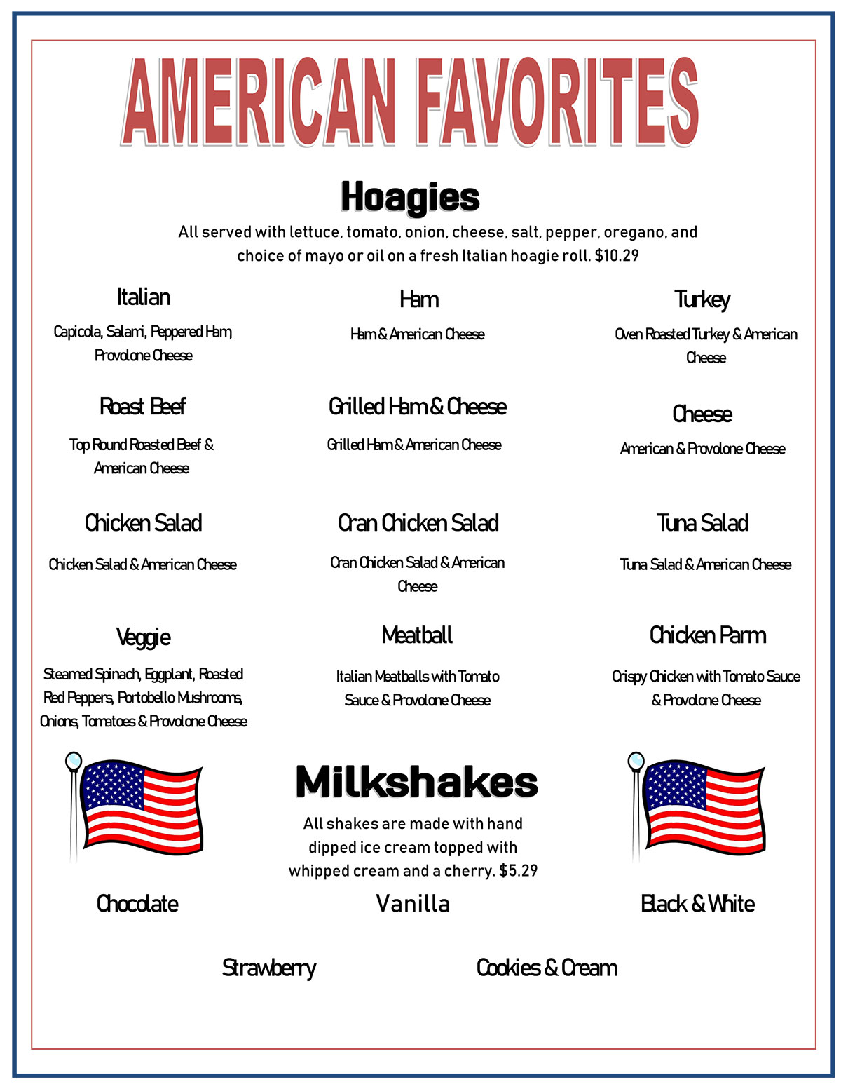 American Favorites Menu